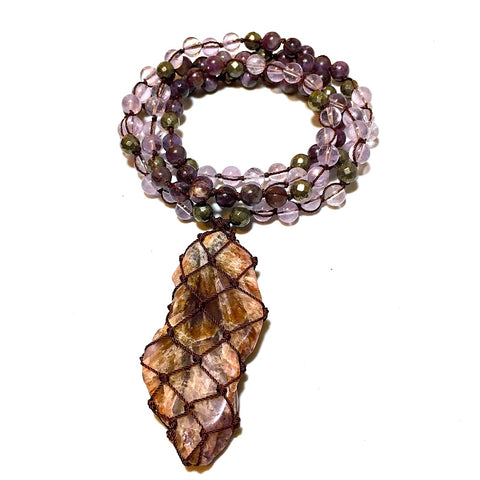 amethyst, pyrite, lepidolite beaded necklace