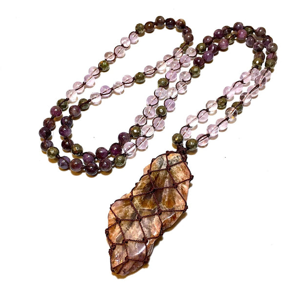 auralite macrame mala necklace