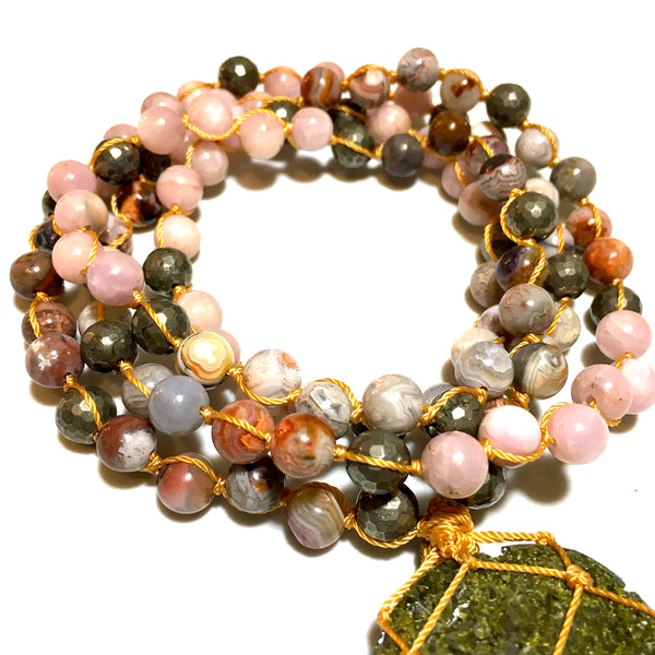 Agate, Kunzite Mala Necklace Jewelry