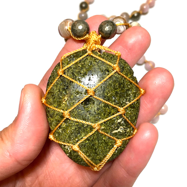 Epidote Macrame Stone Necklace