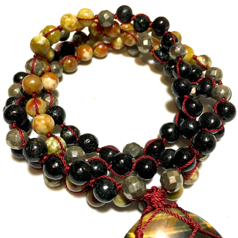 biotite, serpentine, pyrite beaded necklace