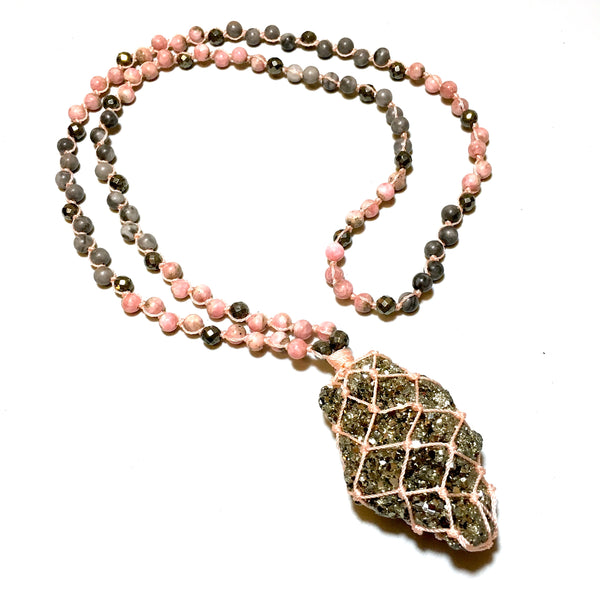Pyrite Mala Beads Necklace