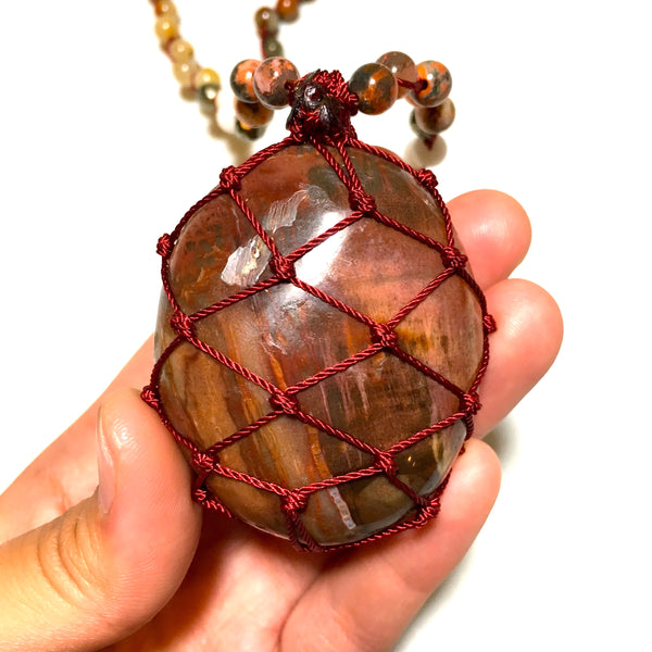 Petrified Wood Mala Necklace