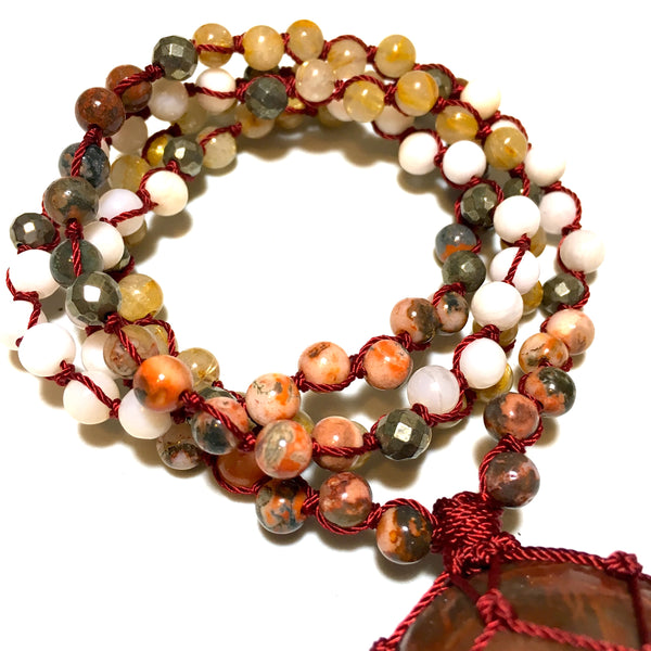 rutilated quartz, red moss agate, pink opal beaded necklace