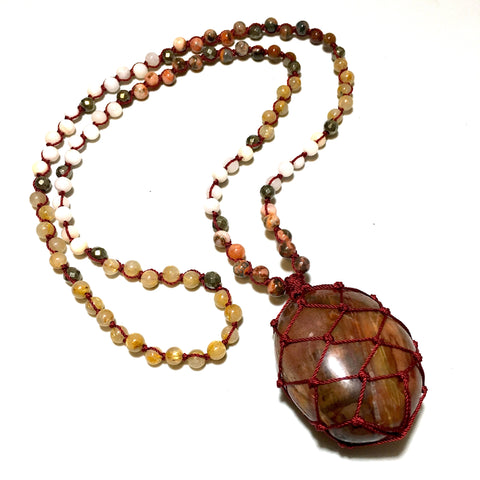 Petrified wood mala beads necklace 108
