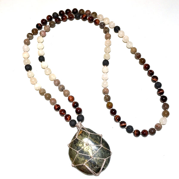 chalcopyrite beaded necklace