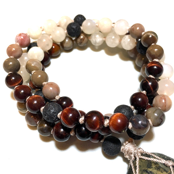 lava, red tiger eye, moonstone, petrified wood beaded necklace