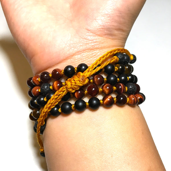 blackwood, red tiger eye, golden tiger eye beaded bracelet