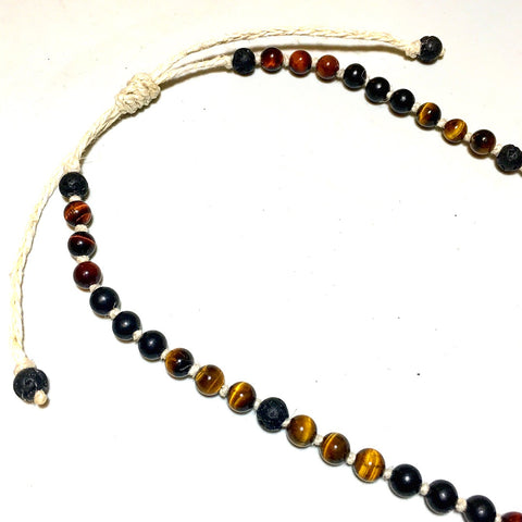 lava red golden tiger eye beads necklace hemp cord