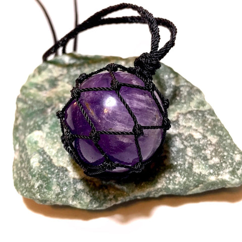 Amethyst Sphere Net Necklace