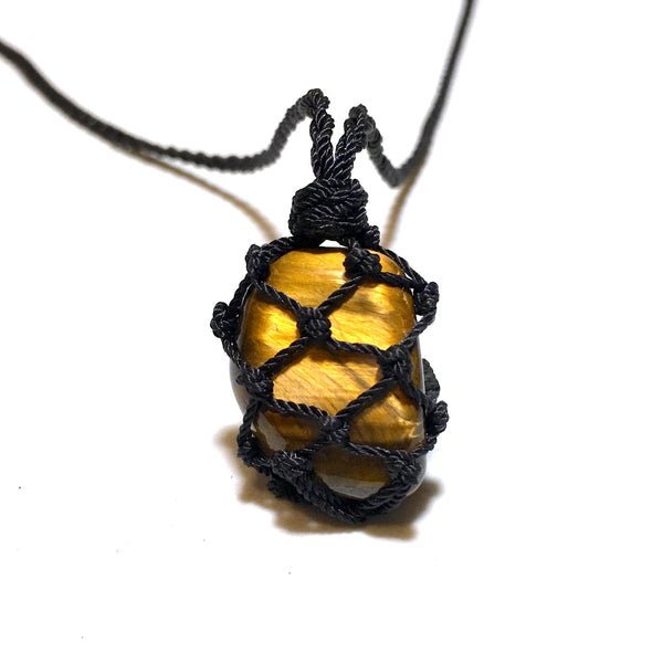 golden tiger eye macrame necklace