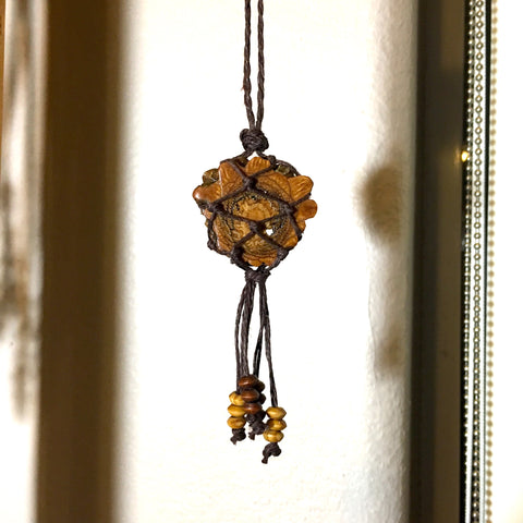Knotted Pine Cone Hemp Cord Necklace