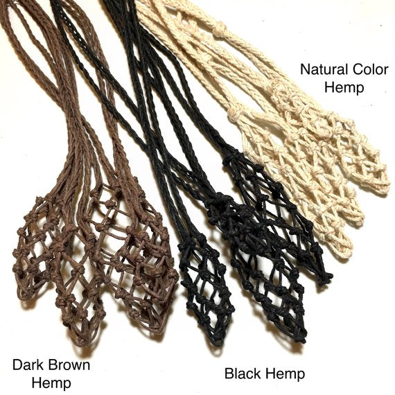 example hemp cord necklace, empty macrame net for healing crystals, chrizzastknes