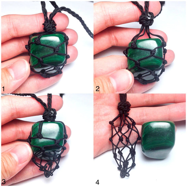 malachite hemp necklace interchangeable