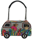 Mary Frances It's A Trip Embellished Bus Top-Handle Bag Handbag New