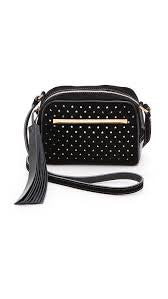 B Brian Atwood Black Barbara Star Perforated Suede Crossbody Bag
