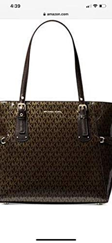 MK Glossy Voyager Signature Brown Gold Handbag Bag New