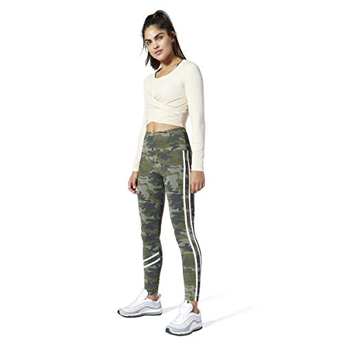 Vimmia Green Camo High Waist Fire Leggings Legging Olive White Stripe Pant New
