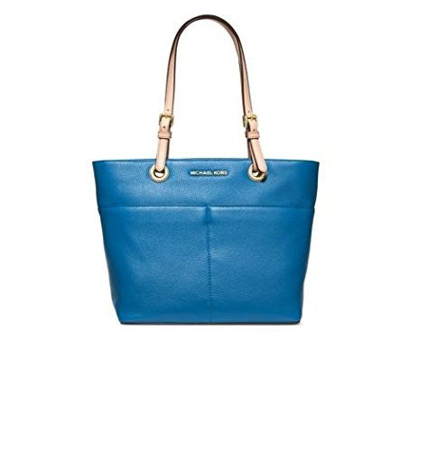 Michael Kors Jet Set Item Top Zip Tote Heritage Blue Leather Bag New