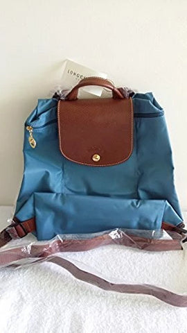 Longchamp 1699 Backpack Ice Blue Fabric Leather Lightweight Bag