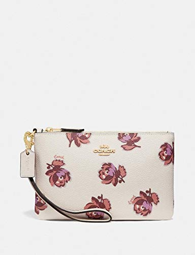 Coach Small Wristlet Chalk Beige With Floral Print Bag Pouch New