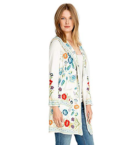 Johnny Was Zia Hooded Duster Jacket Ecru Beige Flower Embroidered New Extra Large
