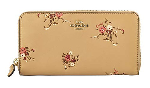 Coach Accordion Zip Wallet With Floral Bundle Print Beechwood Floral/Gold Women Small Leather New