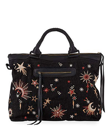 3J Workshop by Johnny Was Women's Embroidered Weekender Bag with Black Leather Handles, O/S