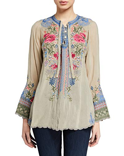 Johnny Was Millie Blouse Top Flower Embroidery Floral Beige Gri Long M Medium New