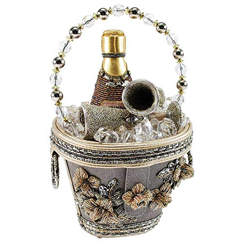 Mary Frances Drinks for Two, Beaded Champagne Ice Bucket Novelty Top Handle Bag