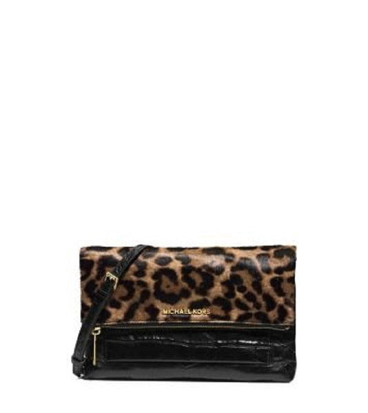 Michael Kors Leopard Jet Set Travel Mixed Media Large Flap Clutch Haircalf Black Leather New