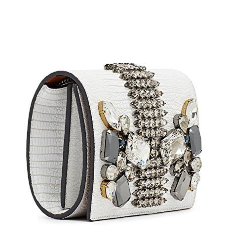 MCM Romantic Chandelier Clutch White Swarovski Leather Bag New