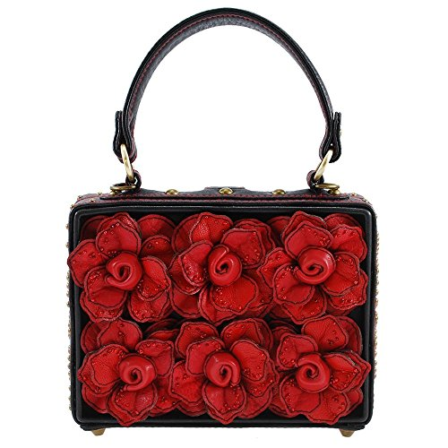 Mary Frances Love Story 3-D Roses Top Handle Bag Purse, Red/Black