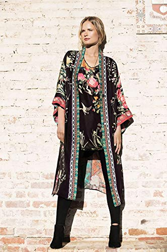 Johnny Was Yokono Rose Black Long Reversible Silk XLarge XL Floral Tribal New