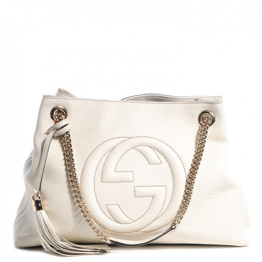 Gucci Soho Ivoire White Ivory Gold Double Chain Soft Hobo Leather Shoulder Bag Italy Authentic New