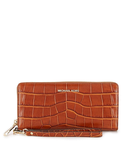 Michael Kors Travel Continental Walnut Embossed Leather Brown New