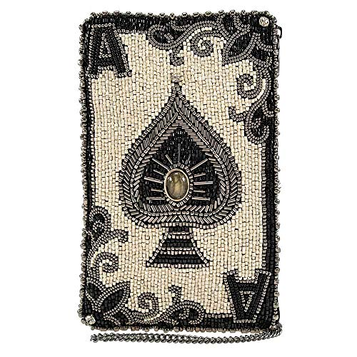 Mary Frances You're Aces Ace of Spades Beaded Crossbody Phone Bag Purse, Ivory