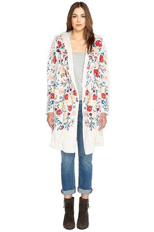 Biya Johnny Was Women's Faux Fur Hooded Coat with Embroidery, MEDIUM or Large