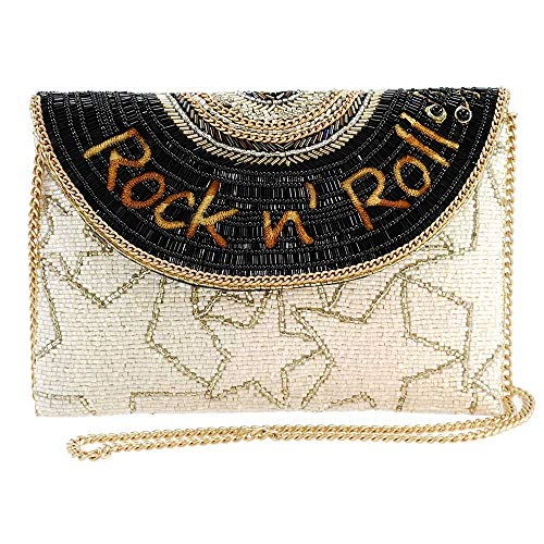 Mary Frances Rockin Beaded Music Theme Envelope Crossbody Clutch