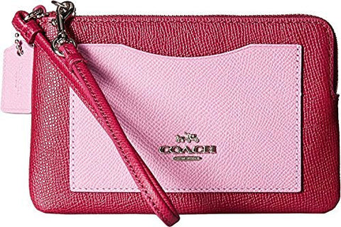 Coach CORNER zip wristlet in color block leather Cyclamen Marshmallow pink