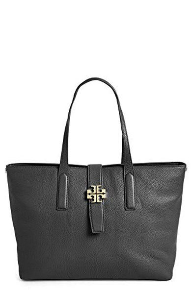 Tory Burch Plaque Leather Tote Black Handbag Authentic Dustbag New