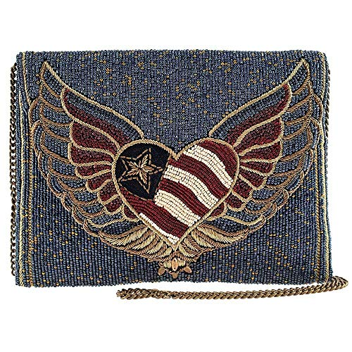 Mary Frances Liberty Beaded Patriotic Heart Crossbody Clutch Handbag Purse, Blue