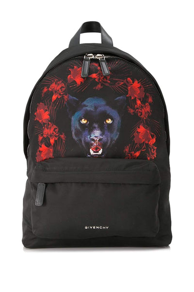 Givenchy Small Backpack Mens Nylon Black Jaguar Print Satin Small Black Nylon and Leather Backpack Red Bag New
