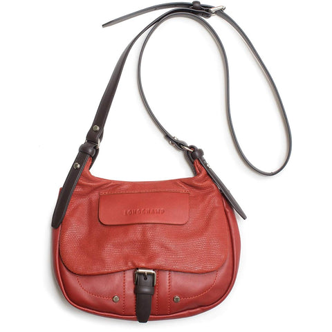LONGCHAMP Balzane Mahogony Red Crossbody Messenger Leather Handbag Purse NEW