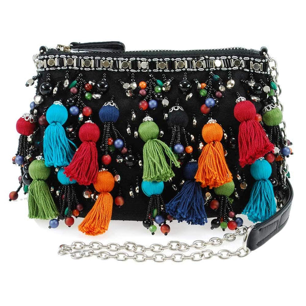 Mary Frances Santiago Embellished Tassel Zipper Top Crossbody Mini Handbag