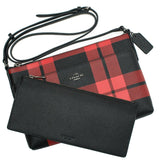 Coach Mount Plaid Pop-up Crossbody in Leather Red Black Bag New
