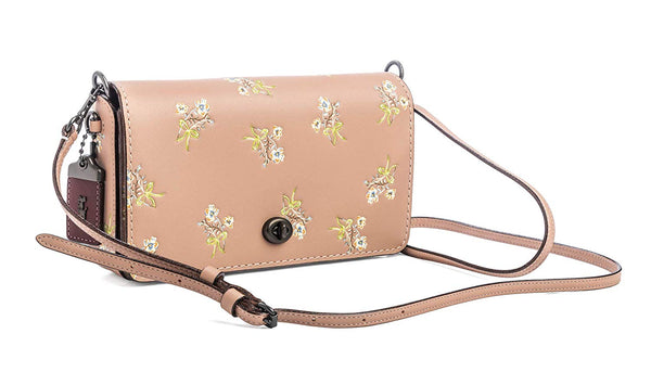 COACH 1941 Dinky bag Floral Bow Print 24813 style Pink tooled leather new