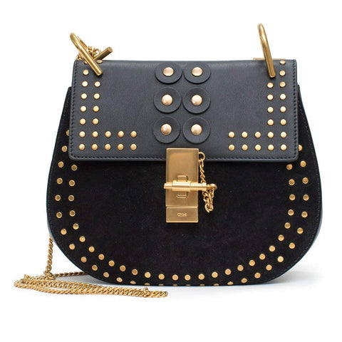 Chloe Black Shoulder Gold Studded Velvet Grommet Bag Drew Porte Epaule New