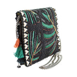 MARY FRANCES Forest Leaves Mini Beaded Handbag