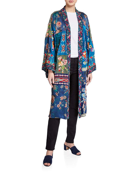 Johnny Was Hazel Long Kimono Embroidery Large Blue Navy Multi New